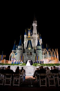 Wedding ceremony in front of Disney castle (Cinderella's) - Magic Kingdom Wedding Spotlight: Sarah + Fred | Magical Day Weddings | A Wedding Atlas Fan Site for Disney Weddings