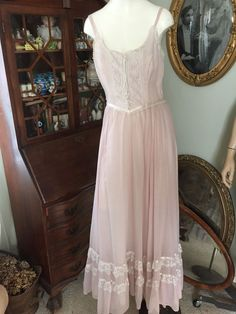 Vintage 60s-70s Gunne Sax Lt Mauve BOHO Hippie Lace Maxi Dress Prom Wedding.Sz:S #GUNNESAXbyJessicaMcClintock #Maxi