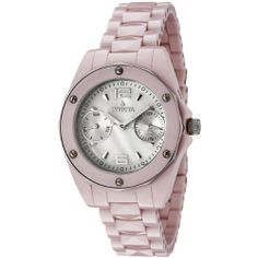 Invicta Women's 0299 Ceramics Collection Pink Ceramic Watch Invicta. $124.95. Day of the week and date silver-tone subdials; Water-resistant to 330 feet (100 M); Durable flame-fusion crystal; Shiny pink ceramic case and bracelet; Actual bracelet width 16 mm; White dial with silver-tone hands, hours markers and arabic numerals 12 and 6; Screw-down crown; Precise Swiss-Quartz movement