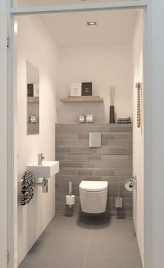 If you have a small bathroom in your home, don't be confuse to change to make it look larger. Not only small bathroom, but also the largest bathrooms have their problems and design flaws. Small Toilet Room, Modern Toilet, Downstairs Toilet, Room Shelves, Shower Shelves, Bathroom Design Small, Small Bathrooms, Bath Design, Bathroom Designs