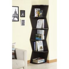 @Overstock - Furniture of America Waverly Modern Walnut 6-tier Corner Bookcase/ Display Cabinet - This modern corner display cabinet provides adequate space to show off your favorite photos, books, and collectibles. Constructed out of sturdy MDF and veneer and featuring a dark walnut finish, the six-shelf bookcase is an ideal addition to any ...