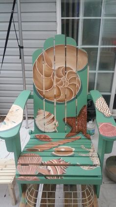 Teal Seashore, painted on Acaci wood Adirondack chair,  by Amy Stump