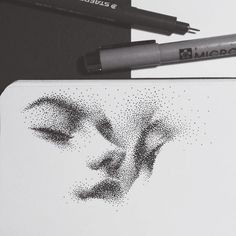 Delicate looking Stippling Drawings. Click the image, for more art by Eric Wang. Ink Pen Art, Pencil Art Drawings, Art Drawings Sketches, Drawing With Pen, Drawing Art, Stippling Drawing, Stippling Tattoo, Stylo Art, Dotted Drawings