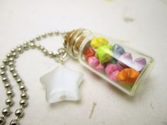 Miniature Origami Lucky Stars Glass Bottle Pendant Necklace Handmade Paper Jewelry