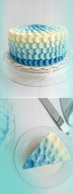 Hochzeit Schnheit aussieht Beautiful Blue Ombre Cake if you are having a little boy! (Or Pink for a Girl! Pretty Cakes, Cute Cakes, Beautiful Cakes, Amazing Cakes, Cake Cookies, Cupcake Cakes, Ombre Cake, Fancy Cakes, Love Cake