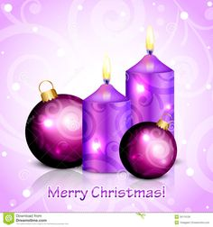 Illustration about Vector Merry Christmas purple background with candles and decorations. Illustration of candlelight, background, decoration - 35113126 Purple Christmas Decorations, Christmas Candles, Gold Christmas, Merry Christmas, Christmas Ornaments, Holiday Decor, Vector Christmas, Gold Candles, Pillar Candles