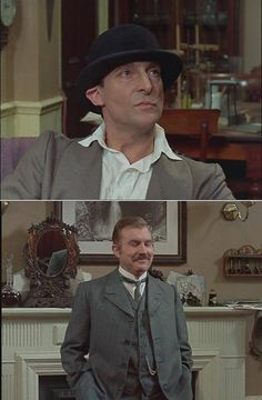 The Blue Carbuncle: Holmes' head is a trifle small for Henry Baker's hat, & Watson cannot hide his amusement. Sherlock Holmes Short Stories, Detective Sherlock Holmes, Jeremy Brett Sherlock Holmes, Sherlock Bbc, The Blue Carbuncle, Arthur Conan Doyle, 221b Baker Street, Private Investigator, Fiction Novels