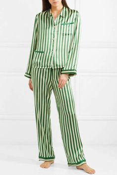 67fc448264 Morgan Lane - Ruthie Striped Silk-charmeuse Pajama Top - Emerald  Ruthie  Striped