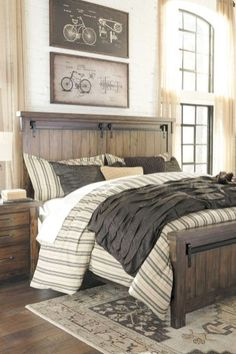 Remarkable Farmhouse Bedroom Designs Ideas You'll Absolutely Love 08 Rustic Bedroom Furniture, Home Decor Bedroom, Modern Bedroom, Bedroom Wall, Rustic Bedroom Sets, Wicker Furniture, Trendy Bedroom, Diy Bedroom, Bedding Decor