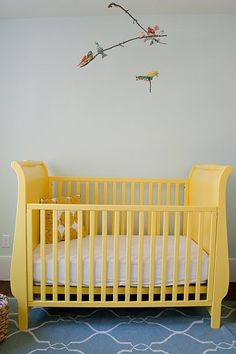 A buttery yellow painted crib for your little butter ball ;) Use non-toxic, baby-safe Lullaby Paints if you're planning on painting your crib!