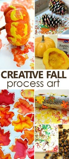 Use the beautiful colors of fall and natural materials for creative fall process art that kids will love making!