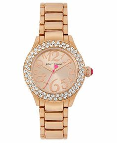Betsey Johnson Watch, Women's Rose Gold Tone Bracelet 36mm BJ00191-03 - All Watches - Jewelry & Watches - Macy's