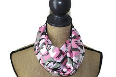 Camo Infinity Scarve  Pink Camoflauge Scarf  Loop by UrbanThreader
