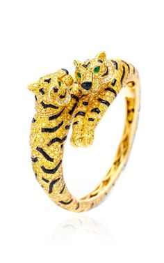 One-Of-A-Kind Cartier Diamond Tiger Bracelet by Fd Gallery Now Available on Moda Operandi