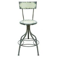 """Perfect for sipping cocktails or enjoying a light lunch, this metal barstool features a weathered patina and adjustable seat.     Product: Barstool Construction Material: Metal Color: Pale greenFeatures:  Adjustable seat heightWeathered finish  Dimensions: 26.5-41"""" H x 18"""" Diameter"""
