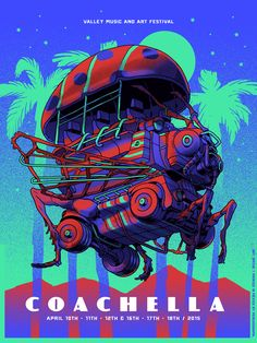 Coachella 2015, Design I made for the C15. We print 100 silkscreens and they sold out on the first week.