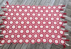 Vintage Crochet Afghan Blanket Red and White by CozyHomeVintage