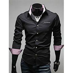 V's Trendy Business Splicing Long Sleeve Shirt(Black)