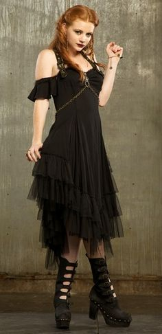 Lip Service - Gypsy Nights - Drop Sleeve Dress - Black/Black