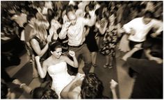 The bride boogies at a downtown Denver wedding reception