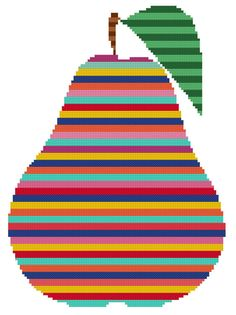 Rainbow Pear a Counted Cross Stitch Pattern by WooHooCrossStitch