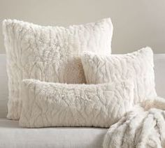 Gathered Faux Fur Pillow Cover - Ivory