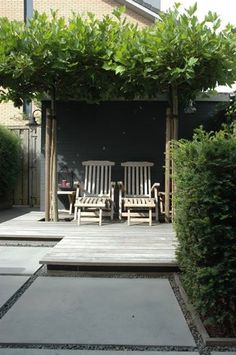 Garden love with welcoming teak steamer chairs on a slightly elevated deck under a lush pergola.