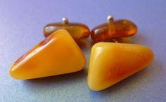 Natural Yellow Butterscotch Honey BALTIC AMBER gemstone men jewelry CUFFLINKS 7g