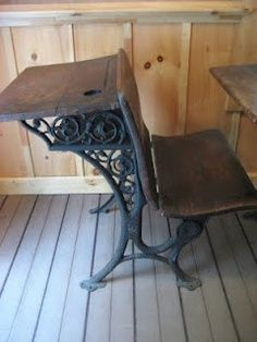 Vintage Antique Childrens 1920s Wood Iron Old Fashion School Desk