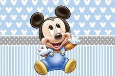 PRINTED Baby Mickey Birthday Party Backdrop by paperstudioeu