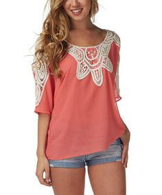 Another great find on #zulily! Coral Sheer Embroidered  Dolman Top by Pinkblush #zulilyfinds