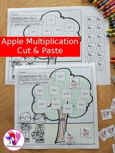 Free Apple Multiplication Cut & Paste - numbers 1 to 12 with 12 pages of printables for kids to work on matching multiplication - 3Dinosaurs.com #noprepprintable #thirdgrade #fourthgrade #multiplication #mathprintable #cutandpaste #3dinosaurs Apple Activities, Activities For Kids, Fourth Grade, Third Grade, Multiplication Practice, Math Concepts, Math Facts, Cut And Paste, Math For Kids