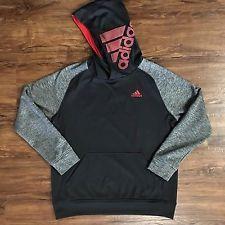 Adidas Boys Black/Gray/Red Tech Fleece Climawarm Hoodie Size Large (14/16) EUC