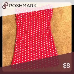 Tube top It's a red poke a dot tube top.   Only worn once or twice.   Has a built in bra and is a stretch material. Derek Heart Tops