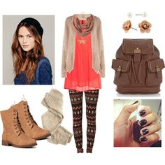 Personal outfit I created on Polyvore! Nothing fancy, just something cute but comfy and light to wear for the days you want to wear something nice but don't have to put too much effort into. Let's face it, the transition from warm weather to cold. NO ONE wants to get up for school or work. But you at least look the part! xP