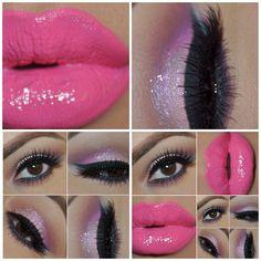 Hot pink lips paired with pink hued eyeshadows Pink Makeup, Glam Makeup, Love Makeup, Makeup Tips, Makeup Looks, Hair Makeup, Makeup Ideas, Awesome Makeup, Pretty Makeup