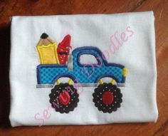 Back to School Monster Truck with Crayon and Pencil Applique T-shirt by SewingDoodles on Etsy