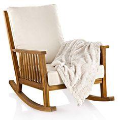 Schaukelstuhl, outdoorgeeignet, Akazie massiv, Polyesterbezüge Vorderansicht