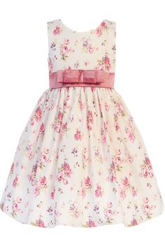 Dusty Rose Floral Print Cotton Spring Easter Dress Girls (M728)