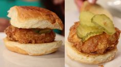 It's National Sandwich Month, so we had Eye Opener favorite, Chef Uno, to us a… Fried Chicken Sandwich, Southern Style, Food Videos, Pickles, Hamburger, Fries, Juice, Sandwiches, Food And Drink