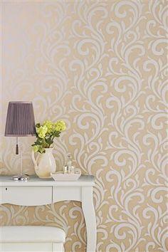 Metallic Natural Scroll Wallpaper - Next Stunning Wallpapers, Room Wallpaper, Entryway Tables, Interior Decorating, Metallic, Traditional, Living Room, Natural, Uk Online