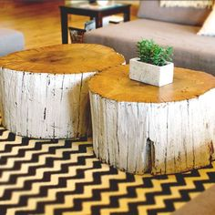 stump coffee tables   Stump coffee table - natural top with white base.