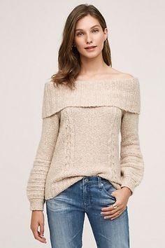 Cabled Off-The-Shoulder Pullover #anthropologie
