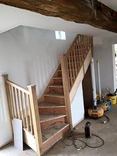 One of our recent single winder staircases supplied by Shaw Stairs with an Oak Stop Chamfer handrail, baserail, spindles and newel posts. Steep Staircase, Modern Staircase, Staircase Design, Loft Stairs, Basement Stairs, House Stairs, Basement Floor Plans, Modern Basement, Attic Renovation