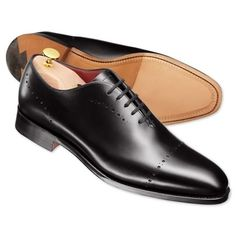 Black luxury calf wholecut shoes | Calf leather shoes from Charles Tyrwhitt, Jermyn Street, London