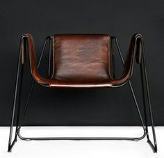 Varnished Steel and Vegatal Leather 'Qui' Armchair for TF-Polstermöbel {2008}