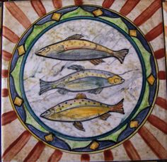Entirely hand painted ceramic Maiolica Tile, Italian Design