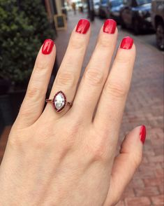 Marquise diamond with a ruby halo Estate Engagement Ring, Marquise Diamond, Class Ring, Halo, Jewelry, Trillion Engagement Ring, Jewellery Making, Jewerly, Engagement Ring