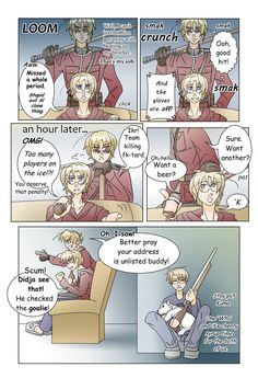 APH-Too Many Players On The Ice by TheLostHype.deviantart.com on @deviantART..... Evil clone thing, that is the most accurate description of 2p! Hetalia characters EVER. Also, never disturb Canadian hockey watching sessions.....