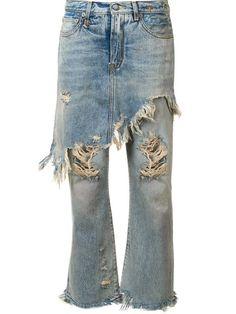 R13 apron overlay distressed jeans. #r13 #cloth #仿旧效果覆盖围裙款牛仔裤